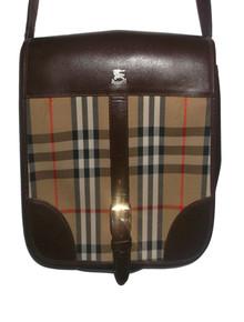 Authentic Burberrys Vintage Nova Check Plaid Brown Leather Crossbody Adjustable Strap Handbag