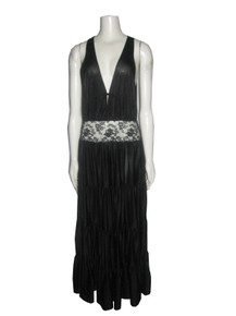 Vintage Movie Star Black Lace Detail Sleeveless Multi Tiered Multifunctional Long Slip Dress