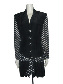 Vintage CFTC Studio Knapp Studio Black White Solid Polka Dot Drop Waist Pleated Tie Waist Grunge Dress