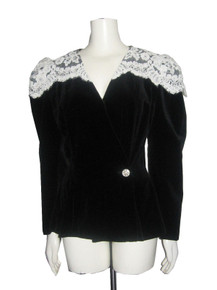 Vintage Black White Decorative Rhinestone Button Closure Overlay Lace Detail Velvet Tuxedo Jacket