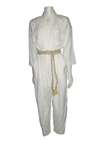 Vintage Ed Michaels By Melanie Drucker Cream & Gold Studded Jumpsuit