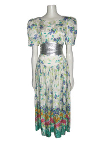 Vintage  NWT Joan Leslie Multicolor Vibrant Floral Painted Print Long Silk Dress