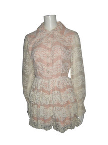 Vintage Rare Cream Peach Lined See Thru Scallop Edge Lace Romper Jumpsuit