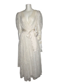 Vintage NWT Nuit Cream Overlay Semi Wrap Satin Belt Multi-functional Formal Wedding Dress