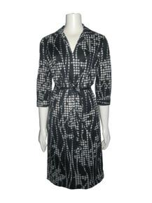 Vintage Black White Printed 3/4 Sleeve Belted Shirt Dress