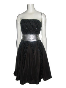 Vintage Evenings By Pantagis Black Lace Taffeta Sequins Embellished Multi Godget Strapless Full Party Dress