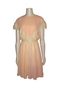 Vintage Ursula Of Switzerland Peach Cream Embroidered Lace Trim Overlay Belted Short Dress