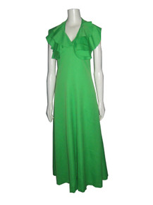 Vintage Neon Lime Green Ruffled Flounce Halter Neck Disco Flared Long Dress