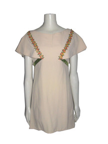 Vintage Beige Multi-color Embroidery Trim Overlay Short Dress w/ Velvet Waist Bow Tie Belt
