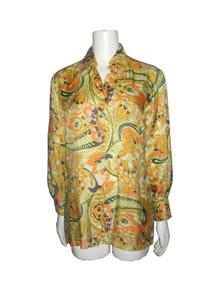 Vintage Cos Cob Multi-color Floral Paisley Print Buttoned Psychedelic Unisex Disco Shirt