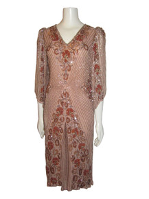Vintage Sister Max Nude Multi-color Sequins Beads Silk Slouchy Flapper Gatbsy Trophy Dress
