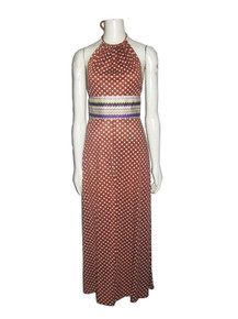 Vintage Young Innocent By Arpeja Rust White Multi-color Polka Dot Zig Zag Striped Halter Tie Neck Disco Flared Long Dress