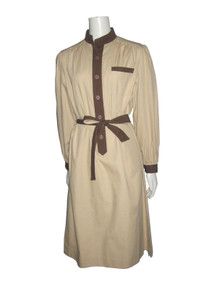 Vintage Elliot Bass New York Beige Brown Contrast Buttoned Shirtwaist  Belted A-Line Dress