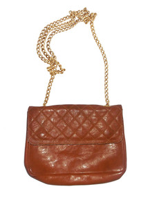 Furla Vintage Brown Gold Chain Strap Quilted Leather Handbag