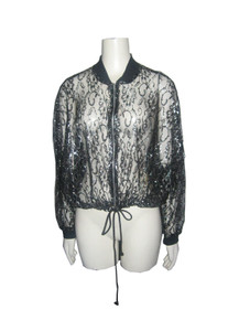 Vintage In Charge Black Metallic Lurex Floral Mesh Lace See Thru Knit Rib Trim Zip Long Sleeve Drawstring Windbreaker Grunge Goth Bomber Jacket