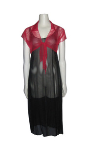 Vintage Chiffon Black See Thru Grunge Dress w/ Red Tie Waist Short Sleeve Shrug