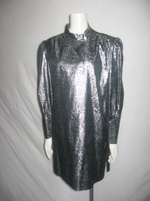 Vintage Metallic Silver Lame Lurex Jacquard Moire Short Dress