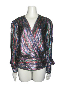 Vintage Riminique Bonwit Teller Metallic Lurex Lame Multi-color Surplice Puff Sleeve Lined Jacket Blouse