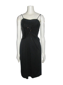 Vintage Black Spaghetti Strap Sequins Detail Shirred Ruched Asymmetrical Disco Dress