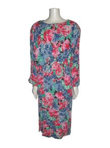 Vintage Argenti Vibrant Multi-color Floral Print Dolman Sleeve Shoulder Pads Back Buttoned Keyhole Elasticized Waist & Cuff Drop Waist Boho Long Dress