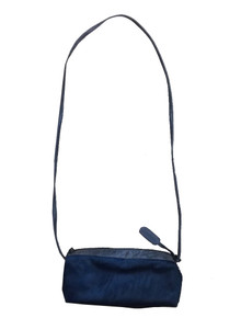 Vintage Carlos Falchi Teal Embossed Leather Fur Handbag