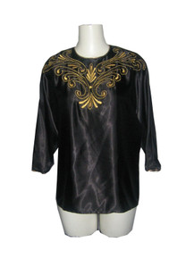 Vintage Laura & Jayne Collection Metallic Gold Embroidery Beads Trim Dolman Sleeve Jewel Neck Back Keyhole Black Satin Blouse