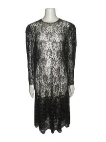 Vintage Virgo  II Black Metallic Gold Lurex See Thru Floral Lace Ruffle Tier Drop Waist Dress