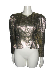 Vintage Lee Jordan New York Metallic Gold Lame  Rhinestone Buttons Short Jacket