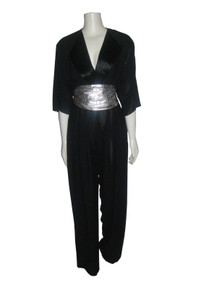 Vintage Regina Kravitz New York Black Satin Shawl Collar Tuxedo Jumpsuit