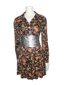 Vintage Black Multi-color Floral Print Short Mini Mod Disco Buttoned Shirt Dress