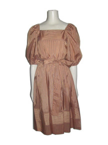 Vintage John Roberts Square Neck Puff Balloon Belted Smock Stripe Belted Dress