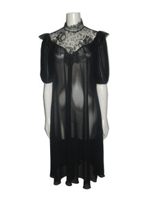 Vintage Alfred Nipon Black Ruffle Lace Bib Detail Sheer Smock Dress