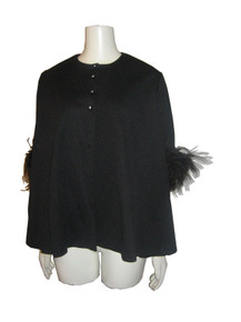 Vintage Black Jewel Neck Rhinestone Buttoned Feather Trim Sleeve Swing Jacket
