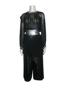 Vintage Black See Thru Rhinestone Tunic & Matching Satin Wrap 2 Pcs Ensemble