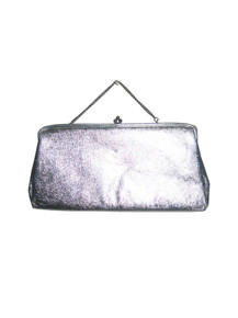 Vintage Metallic Silver Lame  Chain Handle Clasp Closure Envelope Evening Handbag