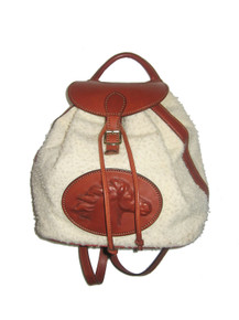 Vintage Rare Ritz Saddler Bone Natural Wool Cognac Leather Backpack Handbag