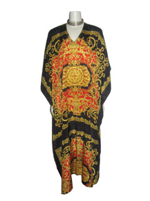 Vintage Ruth Norman Multi-color Baroque Jacquard Print Hippie Boho Long Caftan Dress