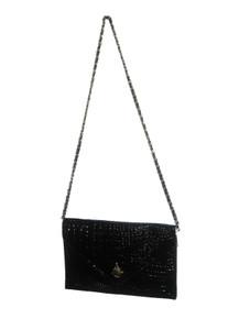 Vintage NWT Vivace Black Genuine Split Leather Cowhide Embossed Grain Pattern Compartment Envelope Handbag