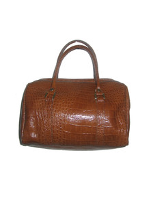 Vintage Vivace Brown Tan Embossed Reptile Finish Leather Duffle Handbag
