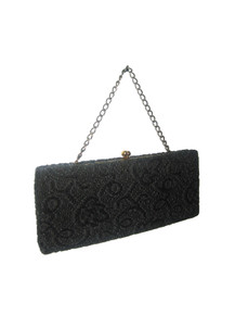 Vintage Ingber Black Gold Tone Floral Leaf Carpet Textured Fabric Clasp Closure Envelope Statement Evening Handbag