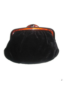 Vintage Black Velvet Amber Plastic Clasp Closure Vinyl Lined Shirred Disco Envelope Clutch Purse Handbag