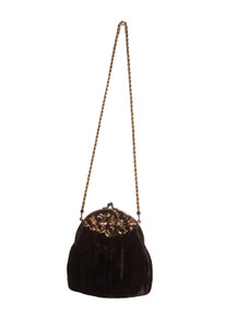 Vintage Fabulous HL USA Brown Velvet Gold Engraved Metal Hardware Twisted Metallic Rope Clasp Closure Evening Handbag