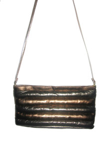 Vintage Karen Pewter Bronze Color Block Puffy Quilted Striped Cross Body Leather Clutch Handbag