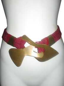 Vintage Maroon Big Gold Buckle Leather Trim Textured Stretch Statement Belt