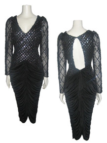 Vintage New Leaf By Samir Metallic Silver Lame Polka Dot Sequins Black Shirred Disco Dress