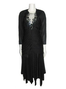 Vintage Black See Thru Sequins Detail Cut Out Back Handkerchief Hem Shirred Slinky Disco Dress
