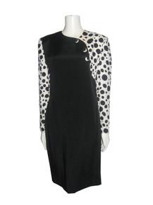 Vintage Jayna New York Black White Polka Dot Solid Colorblock Decorative Buttons Dress
