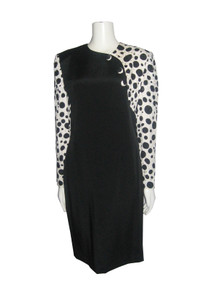 Vintage Jayna New York Black White Polka Dot Solid Colorblock Decorative Buttons Dress