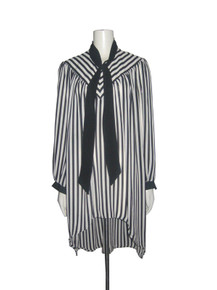 Vintage Lady Carol Of New York Black White Vertical Diagonal Tie Neck High Low Sheer Dress