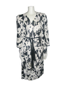 Vintage Black White Floral Abstract Print Partial Pleating Disco High Low Belted Wrap Dress